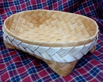 Birch Basket, Split wood basket, wood woven bread Storage, Breakfast basket, knitting basket