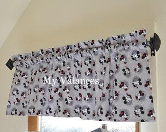 Grey Mickey Mouse window curtain VALANCE * kids boys girls room * collector decor * kitchen bathroom bedroom living room playroom gray