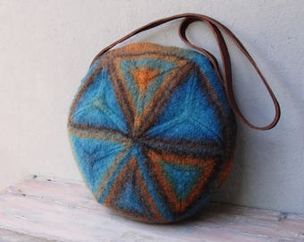 Knitted Felted Wool Bag Geometry Mix, Brown, Blue, Terracotta Purse