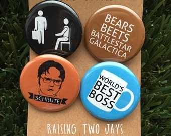 The Office TV Show Buttons - Dwight Schrute, Michael Scott, Dunder Mifflin, Jim Halpert, The Office Gift, The Office Pins, Magnets or Pins