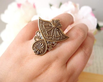 Egyptian Revival Ring-Aged brass-adjustable-steampunk-Victorian-edgy chic- statement-armor ring V085