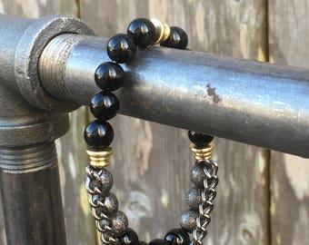 Black agate and gunmetal stardust beaded bracelet