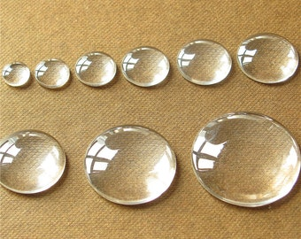 Bulk 50 Circle Clear Glass Cabochon Round Dome Flat Back Magnify Inserts Transparent Domes 8mm 10mm 12mm 14mm 16mm 18mm 20mm 25mm 30mm
