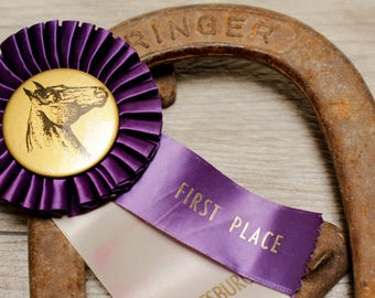 Vintage Horse Rosette Award Ribbon 4H Pony Show Purple Button 1970s Prize Party Gift