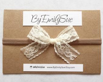 Lace Ivory baby bow nylon headband | baby bow | baby headband
