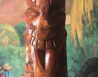 Vintage Tiki God Hand Carved Lamp