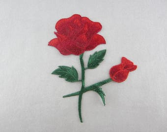 Red Flower Applique Embroidered Flower Patch