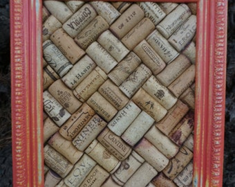 Wine Cork Board in Upcycled Distressed Frame