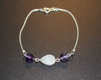 Moonstone and Amethyst bracelet