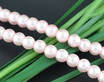 110 8mm Glass Pearl Beads Light Pink, 8903,