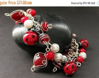 MOTHERS DAY SALE Ladybug Bracelet. Lady Bug Charm Bracelet in Red Coral, Lampwork Glass and Pearl. Handmade Bracelet.