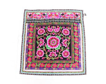 Pink Worm Hmong Embroidered Thai Textile Large