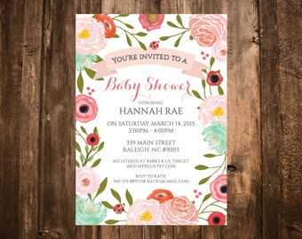 Garden Floral Baby Shower Invitation; Pink, Turquoise; Printable or set of 10