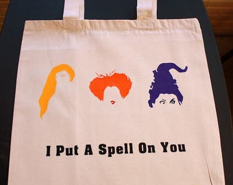 I Put A Spell On You Tote Bag - Small Bag - Vinyl Letters - Natural