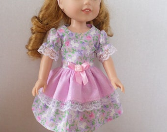 Light purple and pink Easter bunny dress made to fit 14 1/2 inch Wellie Wisher dolls