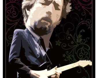 """Eric Clapton poster - 13""""x19"""" or 24""""x36"""" - Guitar legend Eric Clapton - Rock and Roll poster - Clapton fan gift"""