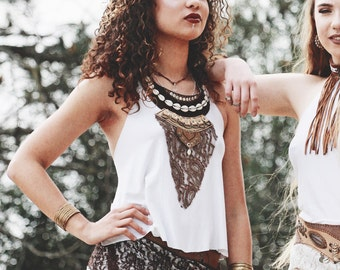 BALI TOP • Leather chains cowrie shells cotton lace boho indie tribal ethnic boho bohemian