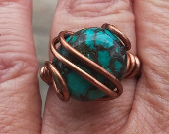 Sublime Turquoise in Copper ring