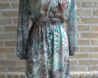 Vintage Lady Carol of New York Green and Brown Floral Print Dress / VIntage Green Dress / Size S