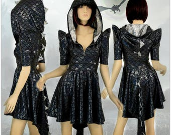 Black Dragon Scale Sharp Shoulder Half Sleeve Zipper Dragon Tail Hemline Skater Dress Silver/Black Shattered Glass Spikes & HoodLiner 155002