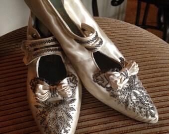 Splendid Edwardian Satin Beaded Wedding Shoes--Original Box, Provenance
