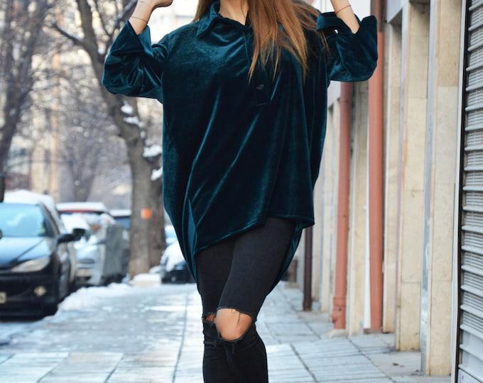 Extravagant Maxi Petrol Green Hooded, Casual Zipper Sweatshirt with pockets, Long Sleeves Tunic by SSDfashion