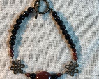 Rust Ceramic Bead Celtic Knot Bead Bracelet