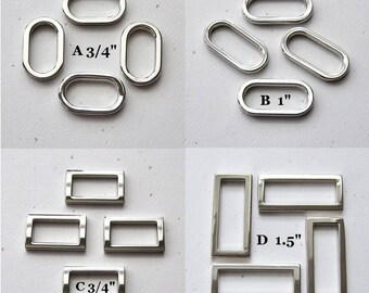 "Oval or Rectangle D Rings Nickel Plated Purse Hardware 3/4"" 1"" 1.5"" - set of 4"