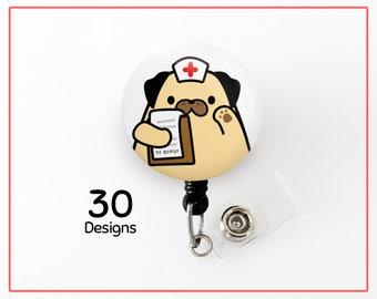 Customizable Retractable Badge Holder, Dog Badge, Pug Badge Reel, Dog Badge Holder Nurse Gift Doctor Gift Stocking Stuffer Veterinarian Gift