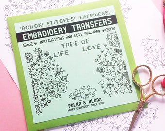 Embroidery Iron On Transfer Tree of Life and Tree of Love