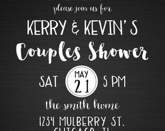Black and White Casual Backyard String Lights Couples Shower Invitation