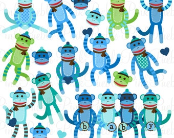 Boy Baby Shower Sock Monkeys Clipart Clip Art Vectors, Great for Sock Monkey Baby Shower Invitations - Commercial and Personal Use