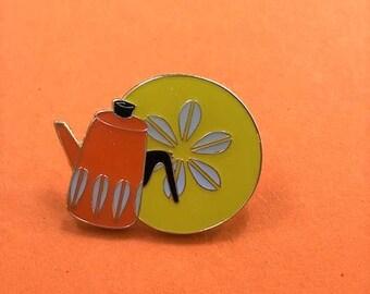 Vintage Pin Club - CathrineHolm Scandi Orange Lotus Kettle Enamel Pin Badge