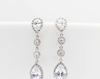 Long earrings silver plated cubic zirconia wedding bridal Jewelry