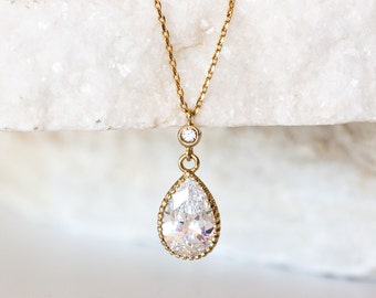 Bridal simple necklace Crystal necklace pendant Gold teardrop necklace Pendant necklace Bridal gold jewelry Crystal Bridal necklace 682