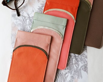 Leather glasses case,  spectacles case, sunglasses case, accessory for sunglasses, real leather case, real leather, cotton lining