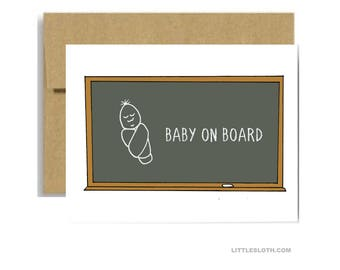 Baby on board greeting card - chalkboard school card new baby parent newborn congratulations congrats baby shower pun puns