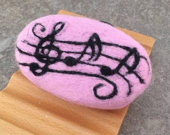 Felted Goat Milk Soap - Blackberry Green Tea Scented with Whimsical Music Notes