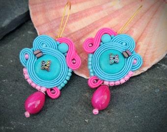 Pink Turquoise Soutache Earrings-Hippie Boho Earrings-Statement Earrings-Beaded Dangle Earrings-Crystal Gemstone Earrings-Retro Earrings