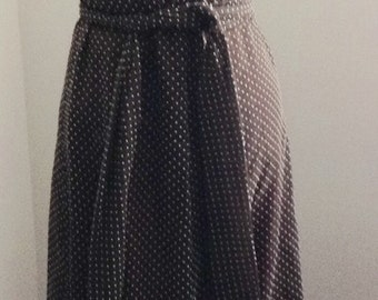 VTG Saba California brown swiss dot ruffle peasant BOHO dress 6