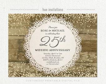 Th wedding anniversary invitation diamond glitter silver