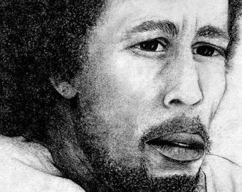 Robert Nesta Marley - Print of Original Charcoal Drawing