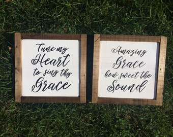 "Framed 8.75"" square hymn sign Amazing Grace, Come Thou Fount or It Is Well"
