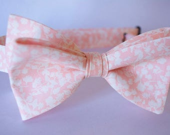 blush coral bow tie,floral bow tie,blush floral tie,coral bow tie for men