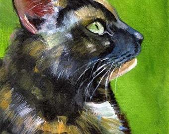 Tortie Cat Art Print of Original Acrylic Painting - 8x10