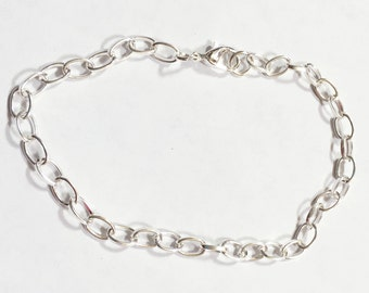 Bulk 20 pcs of Silver plated chain bracelet with lobster clasp 8inch long, bulk finished bracelet for charm bracelet