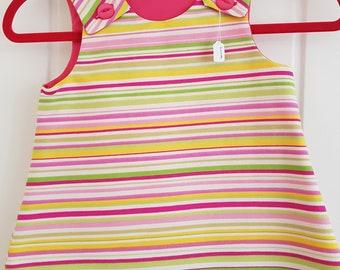 Candy Stripe Girls Pinafore Dress Age 6 months
