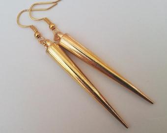 Gold Spike Earrings , Gold Earrings , Dangling Earrings , Dangling Earrings , Bohemian , Bling , Handmade Jewellery , Handmade Gift