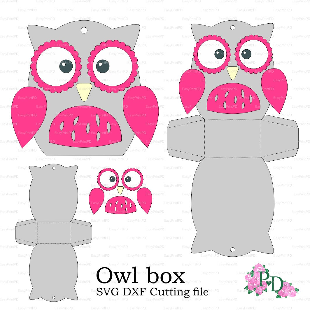 Owl paper Box template Baby Shower Animals birds party svg