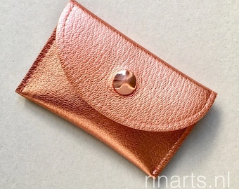Card holder / slim wallet / coin case / card case in high quality rose gold / copper metallic leather.  Gift for her. Gift under 25